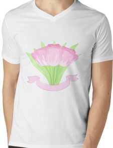 hand drawing tulips Mens V-Neck T-Shirt