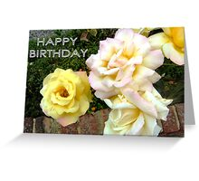 WHITE ROSES ON THE WALL. HAPPY BIRTHDAY Greeting Card