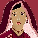 Beautiful Bride in Red Digital Painting by Kate Farrant