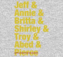 Community Jeff & Annie & Britta & Shirley & Troy & Abed & Pierce Shirt One Piece - Long Sleeve
