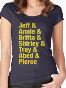 Community Jeff & Annie & Britta & Shirley & Troy & Abed & Pierce Shirt Women's Fitted Scoop T-Shirt