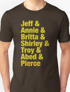Community Jeff & Annie & Britta & Shirley & Troy & Abed & Pierce Shirt Unisex T-Shirt