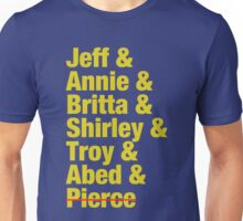 Community Jeff & Annie & Britta & Shirley & Troy & Abed & Pierce Shirt Unisex T-Shirt