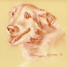 Oldest Dog - original drawing by Paulette Farrell