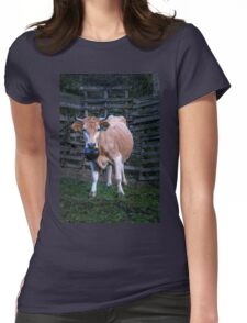 Pretty cow with a huge bell, staring  Womens Fitted T-Shirt