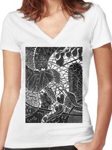 Zen doodle spiritual abstract art Women's Fitted V-Neck T-Shirt