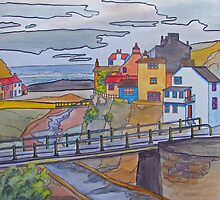 Staithes - from the hillside by bevmorgan