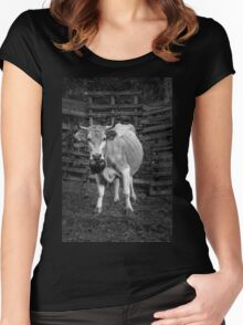 Pretty cow with a huge bell, staring, in bW Women's Fitted Scoop T-Shirt