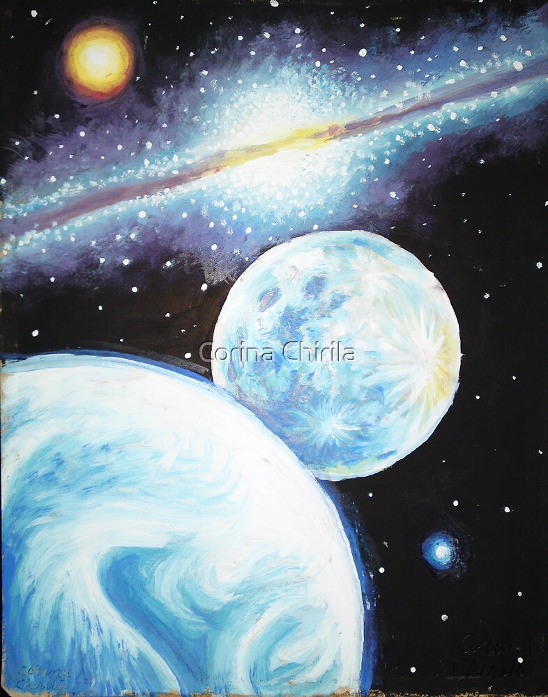 he Earth the Moon and the milky way painting by Corina Chirila