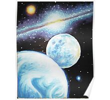 he Earth the Moon and the milky way painting Poster
