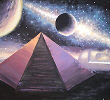 The pyramid and the fac in the Cydonia region on Mars painting by Corina Chirila
