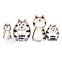 Four funny cats Photographic Print