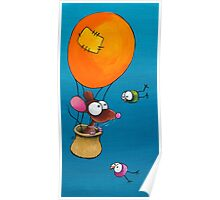 Mouse in his hot air balloon Poster