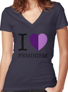 I LOVE FEMINISM Women's Fitted V-Neck T-Shirt