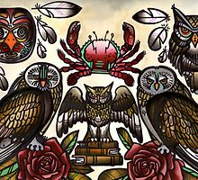 owls and crab tattoo flash by resonanteye