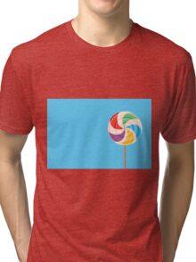 Colorful Lollypop on Blue Tri-blend T-Shirt