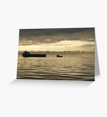 Freighter at Dusk Greeting Card