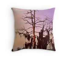 Colorful Sunrise Wilderness Florida Trees and Spoonbills Throw Pillow