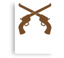 Guns pistols shooters crossed gunslinger Canvas Print