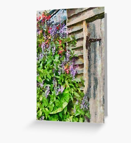Flowers by the barn door Greeting Card