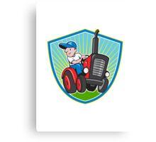Farmer Driving Vintage Tractor Cartoon Canvas Print