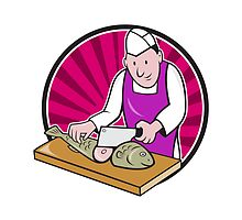 Sushi Chef Butcher Fishmonger Cartoon by patrimonio