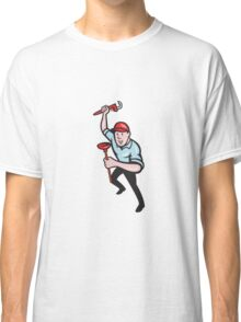 Plumber With Monkey Wrench And Plunger Cartoon Classic T-Shirt