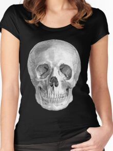 Albinus Skull 01 - Back To The Basic - Black Background Women's Fitted Scoop T-Shirt
