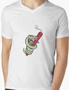 Rattle Snake Coiling Dynamite Cartoon Mens V-Neck T-Shirt