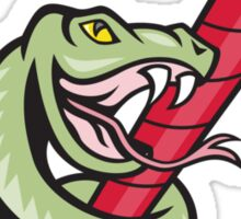 Rattle Snake Coiling Dynamite Cartoon Sticker