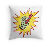 Rattle Snake Coiling Dynamite Cartoon Throw Pillow