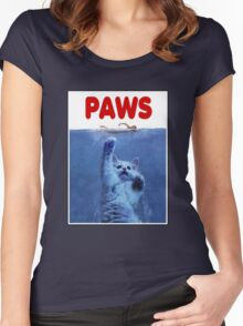 PAWS! JAWS Parody When Cats Attack Women's Fitted Scoop T-Shirt