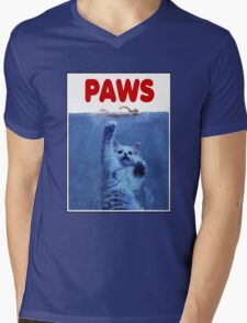 PAWS! JAWS Parody When Cats Attack Mens V-Neck T-Shirt