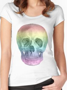 Albinus Skull 02 - Over The Rainbow - White Background Women's Fitted Scoop T-Shirt