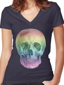 Albinus Skull 02 - Over The Rainbow - White Background Women's Fitted V-Neck T-Shirt