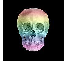 Albinus Skull 02 - Over The Rainbow - Black Background Photographic Print