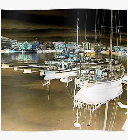 Boats at harbour Poster