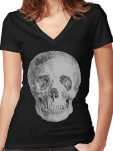 Albinus Skull 04 - Never Seen Before Genius Diamonds - Black Background Women's Fitted V-Neck T-Shirt
