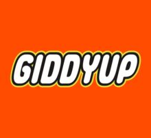 GIDDYUP in brick font by Customize My Minifig by ChilleeW