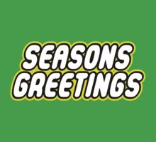 SEASONS GREETINGS in brick font by Customize My Minifig by ChilleeW
