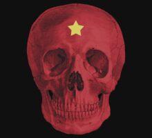 Albinus Skull 05 - Red Comunist Legend - Black Background by sivieriart
