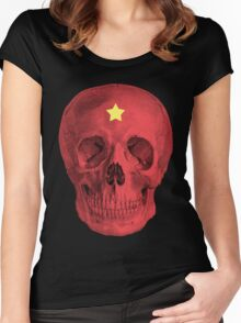 Albinus Skull 05 - Red Comunist Legend - Black Background Women's Fitted Scoop T-Shirt