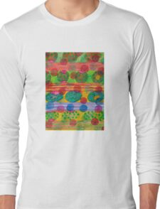 Round Shapes within and above horizontal Stripes  Long Sleeve T-Shirt