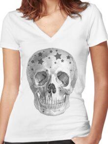 Albinus Skull 06 - Wannabe Star - White Background Women's Fitted V-Neck T-Shirt
