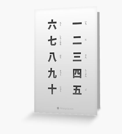 Japanese numbers cheat sheet & poster Greeting Card
