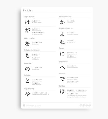 Japanese particles cheat sheet & poster Metal Print