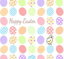 Happy Easter Eggs & Cute Baby Chick by offleashart