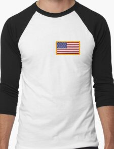 American ARMY, Flag, SMALL, Embroidered, Stars and Stripes, USA, United States, America, Military Badge Men's Baseball ¾ T-Shirt