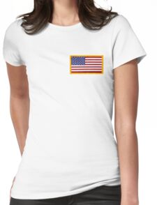 American ARMY, Flag, SMALL, Embroidered, Stars and Stripes, USA, United States, America, Military Badge Womens Fitted T-Shirt