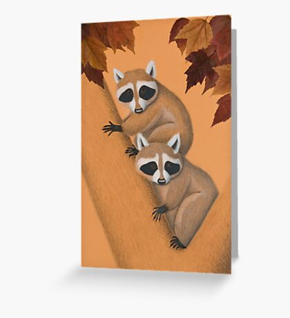 Fall Raccoons On Tree Greeting Card